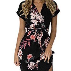 Womens Short Sleeve Midi V-Neck Party Dress